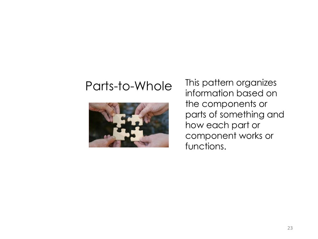 Parts-to-Whole This pattern organizes informati...