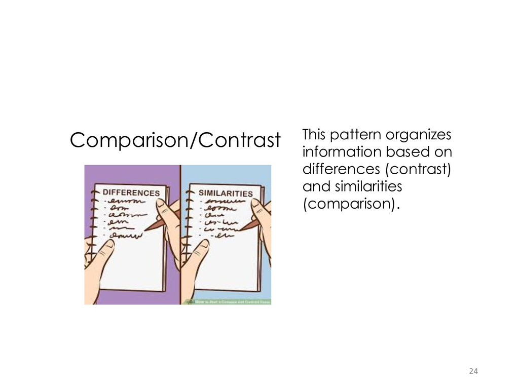 Comparison/Contrast This pattern organizes info...