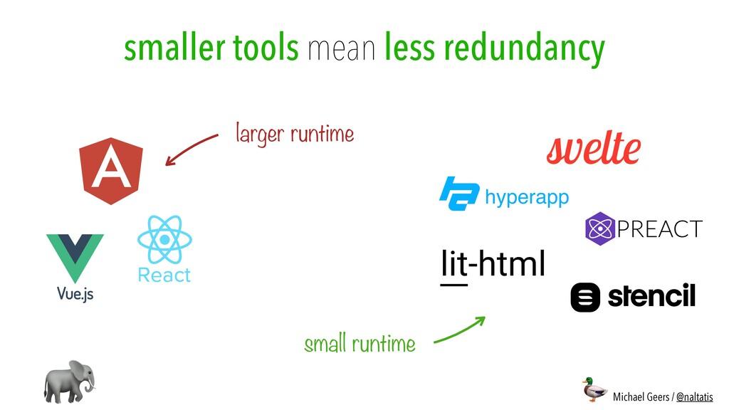 smaller tools mean less redundancy larger runti...