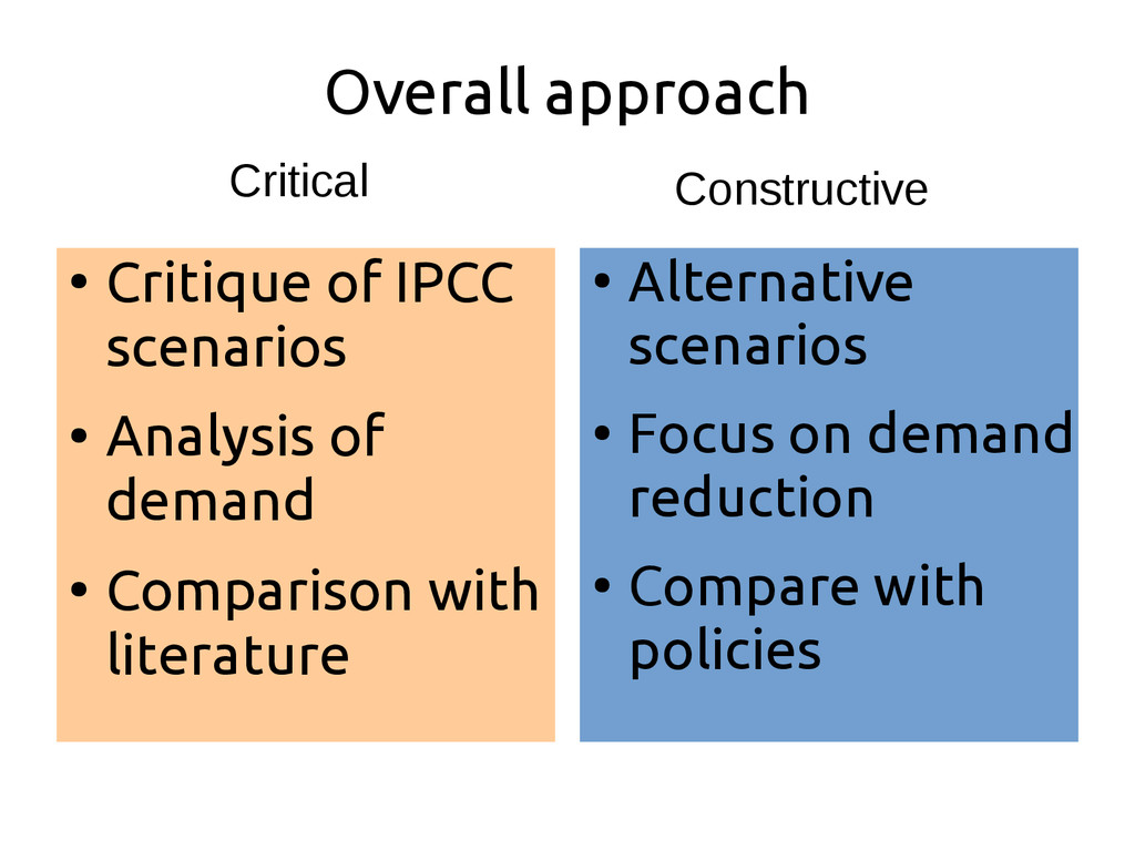 Overall approach ● Critique of IPCC scenarios ●...