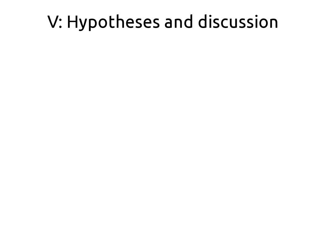V: Hypotheses and discussion