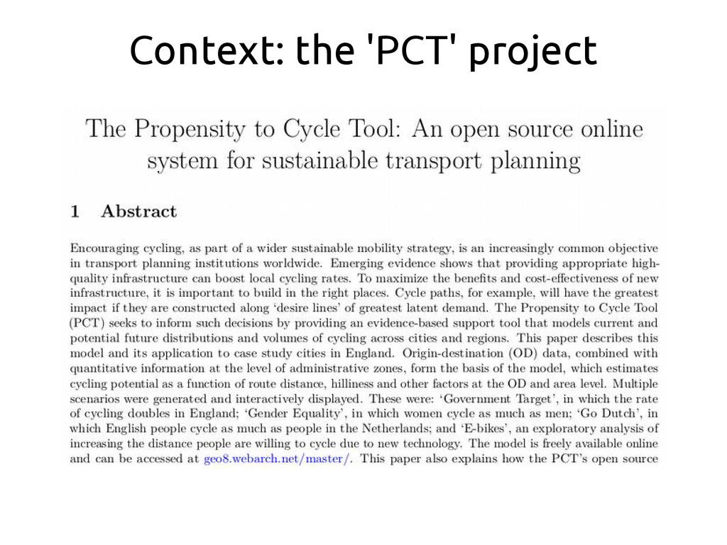 Context: the 'PCT' project