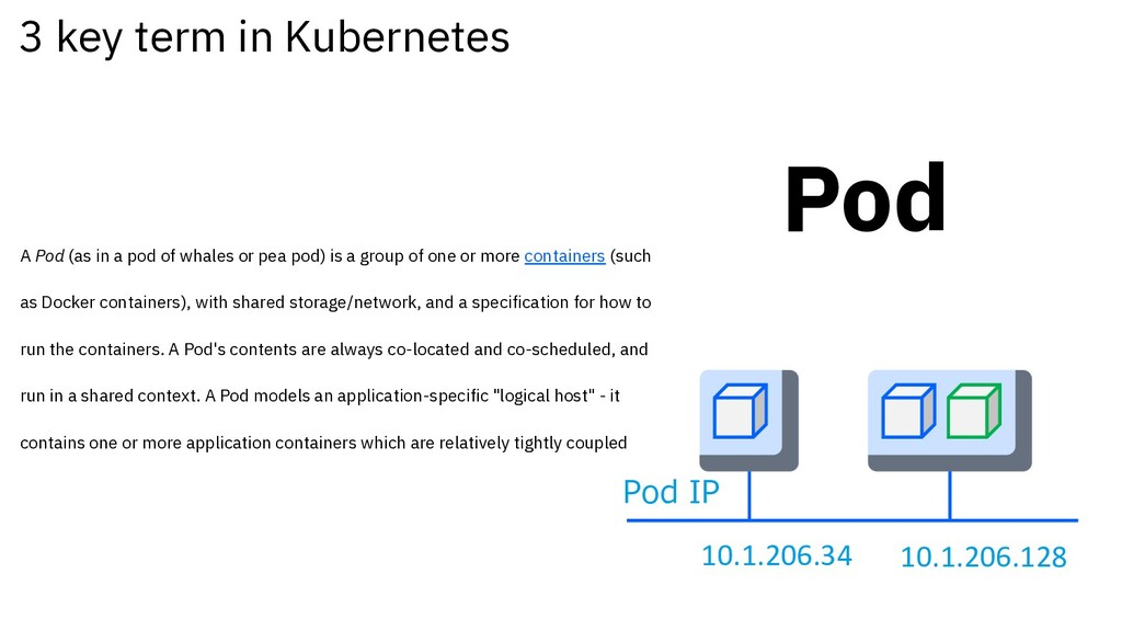 3 key term in Kubernetes Pod A Pod (as in a pod...