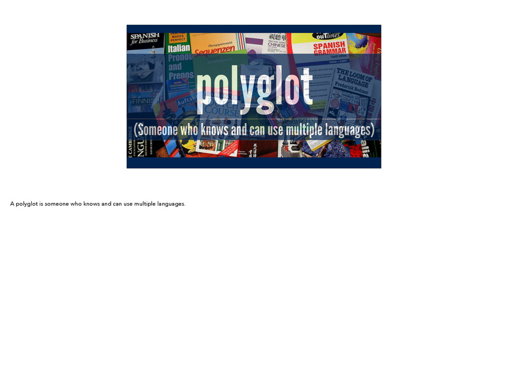 polyglot (Someone who knows and can use multipl...