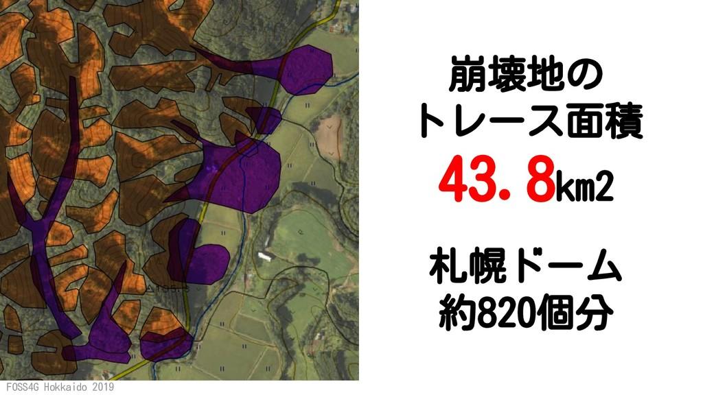 FOSS4G Hokkaido 2019 札幌ドーム 約820個分 崩壊地の トレース面積 4...