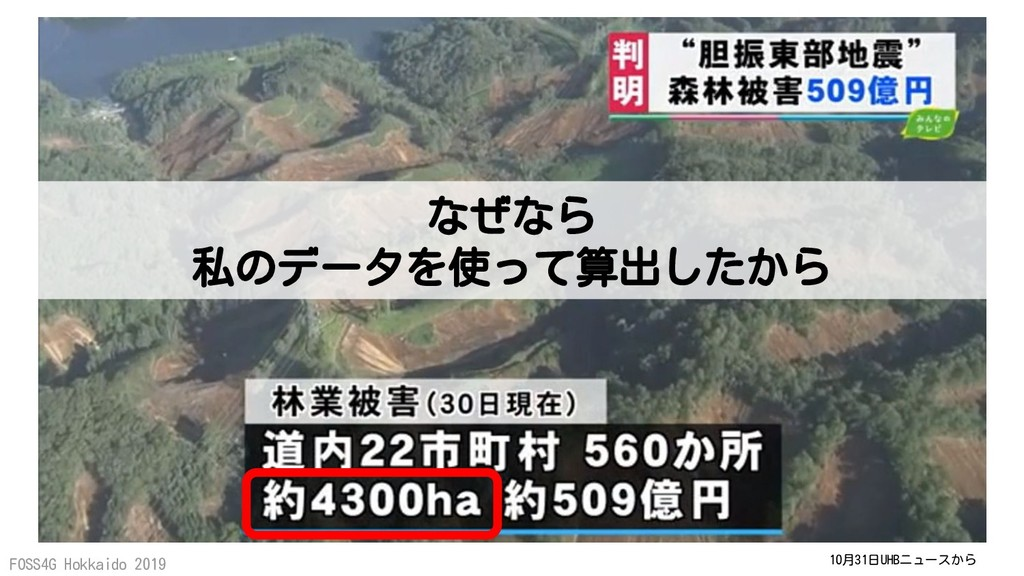 FOSS4G Hokkaido 2019 10月31日UHBニュースから なぜなら 私のデータ...