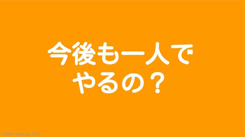 FOSS4G Hokkaido 2019 今後も一人で やるの?
