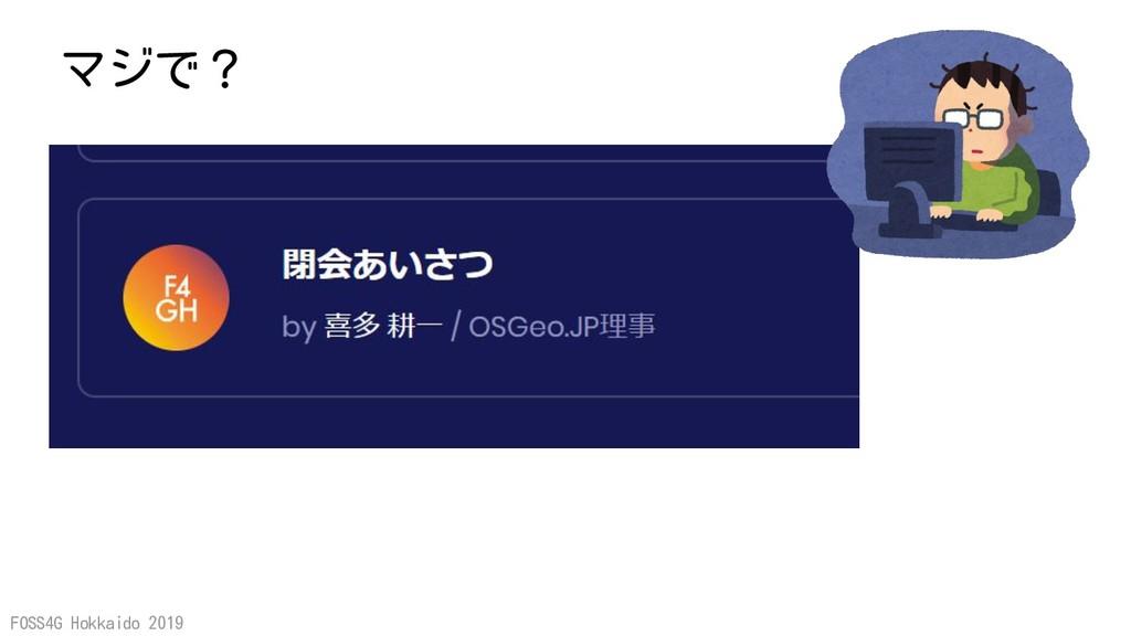 FOSS4G Hokkaido 2019 マジで?