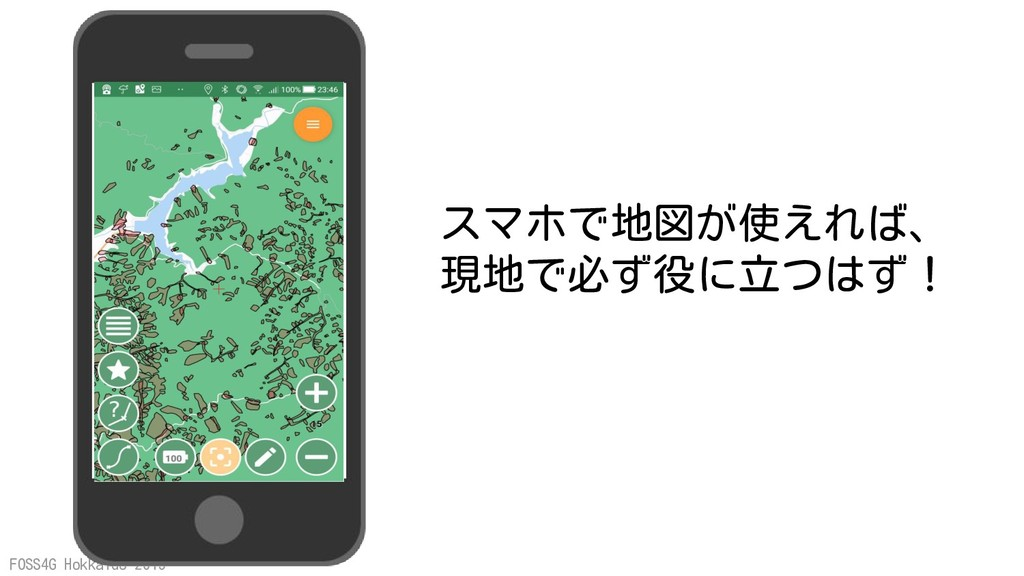 FOSS4G Hokkaido 2019 スマホで地図が使えれば、 現地で必ず役に立つはず!