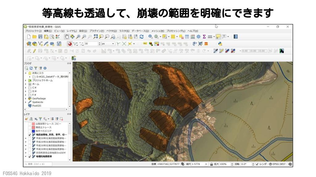 FOSS4G Hokkaido 2019 等高線も透過して、崩壊の範囲を明確にできます