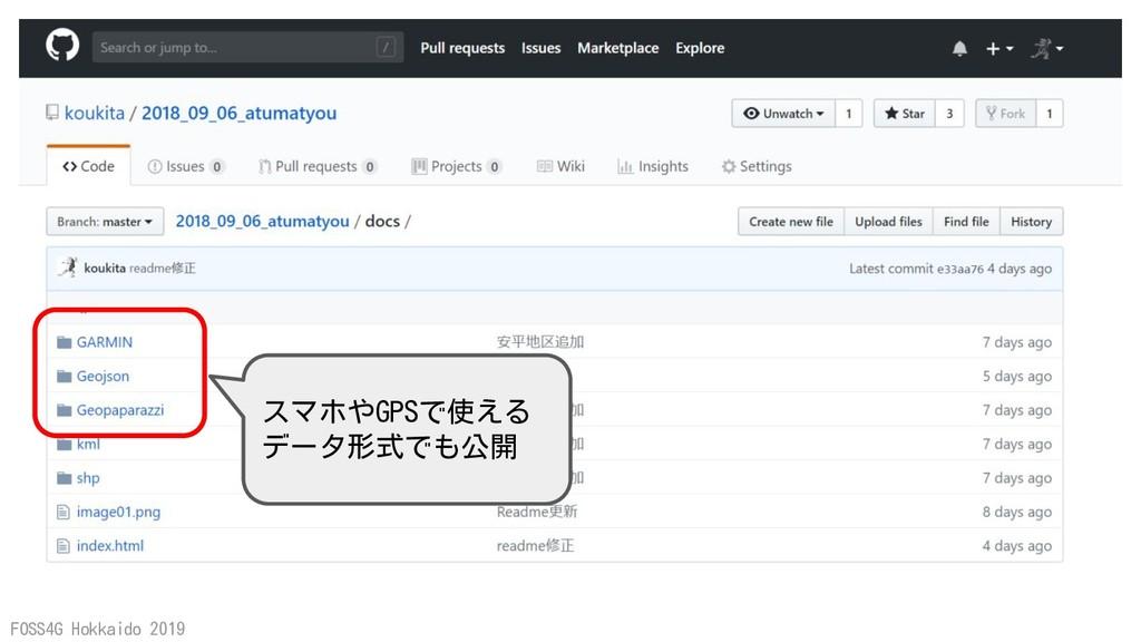 FOSS4G Hokkaido 2019 スマホやGPSで使える データ形式でも公開