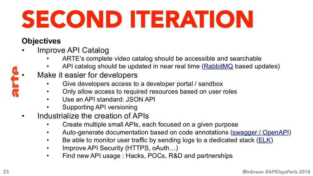 Objectives • Improve API Catalog • ARTE's com...