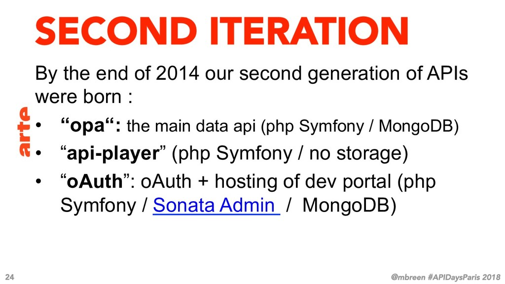 By the end of 2014 our second generation of API...