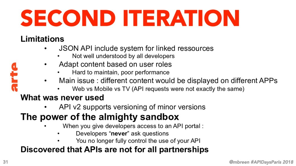 Limitations • JSON API include system for link...