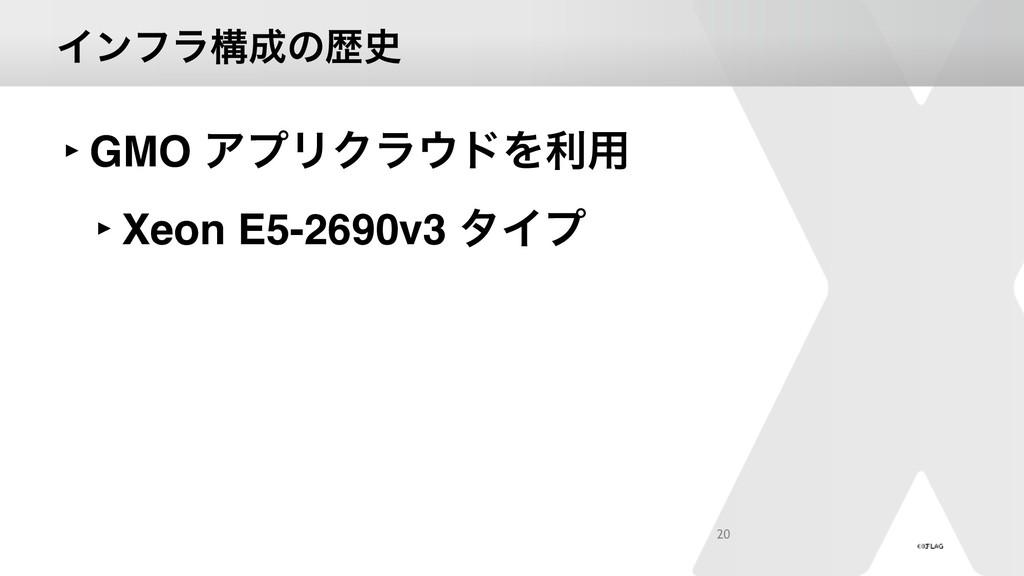 Πϯϑϥߏͷྺ ‣GMO ΞϓϦΫϥυΛར༻ ‣Xeon E5-2690v3 λΠϓ 20