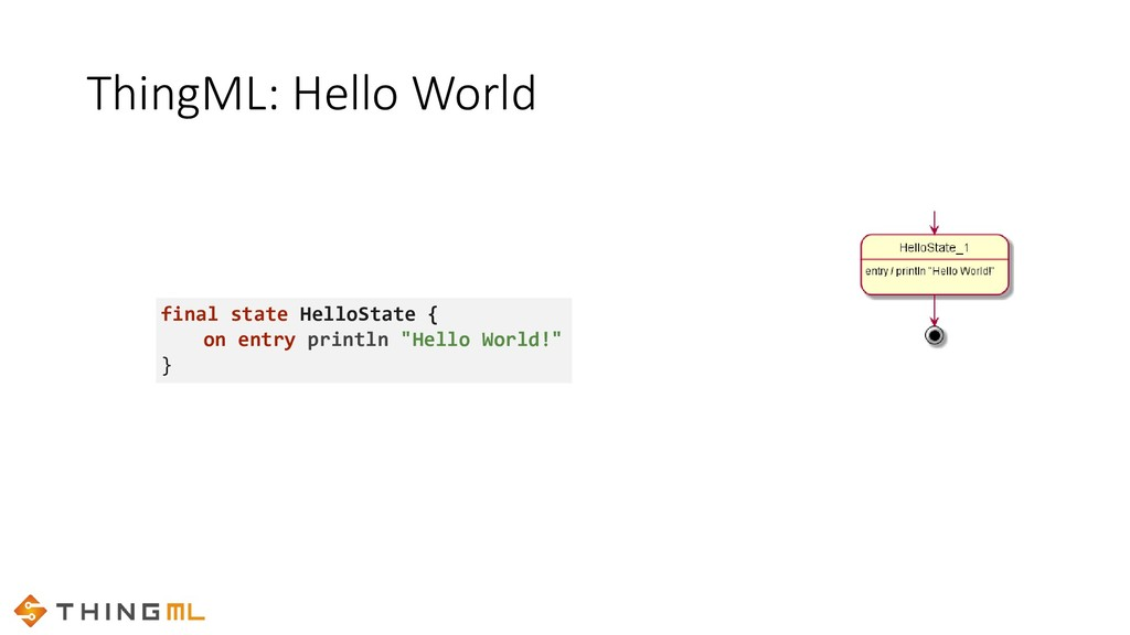 ThingML: Hello World thing HelloThing { statech...