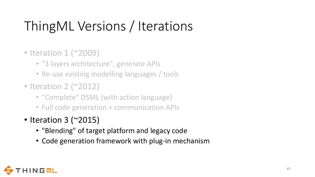 ThingML Versions / Iterations • Iteration 1 (~2...