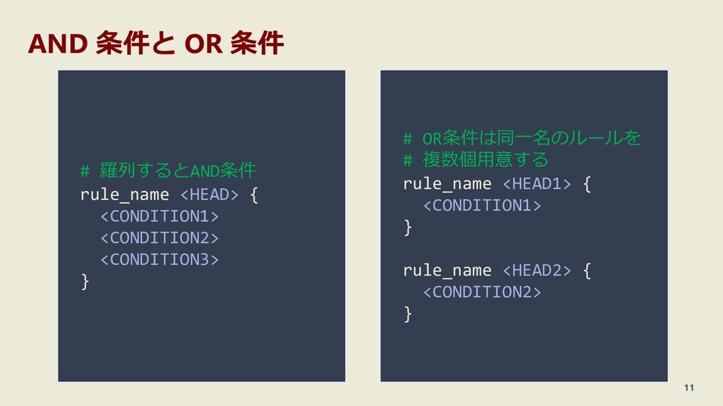 AND 条件と OR 条件 11 # 羅列するとAND条件 rule_name <HEAD> ...
