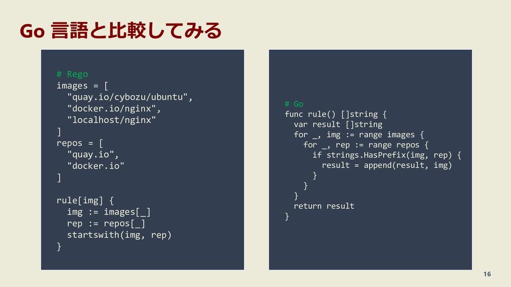 """Go 言語と比較してみる 16 # Rego images = [ """"quay.io/cybo..."""