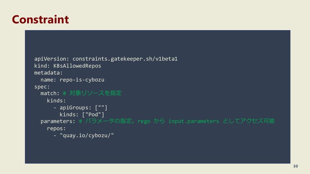 Constraint 30 apiVersion: constraints.gatekeepe...