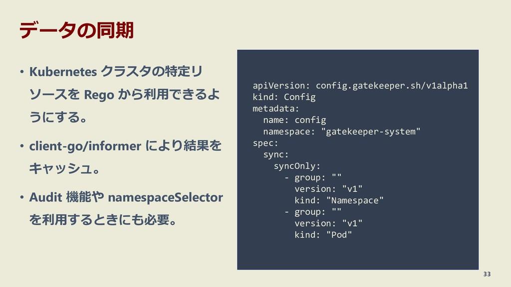 データの同期 • Kubernetes クラスタの特定リ ソースを Rego から利用できるよ...