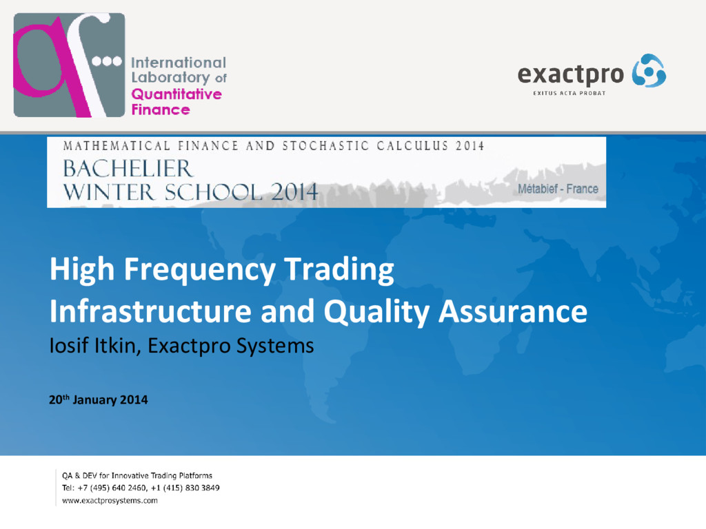 High Frequency Trading Infrastructure and Quali...