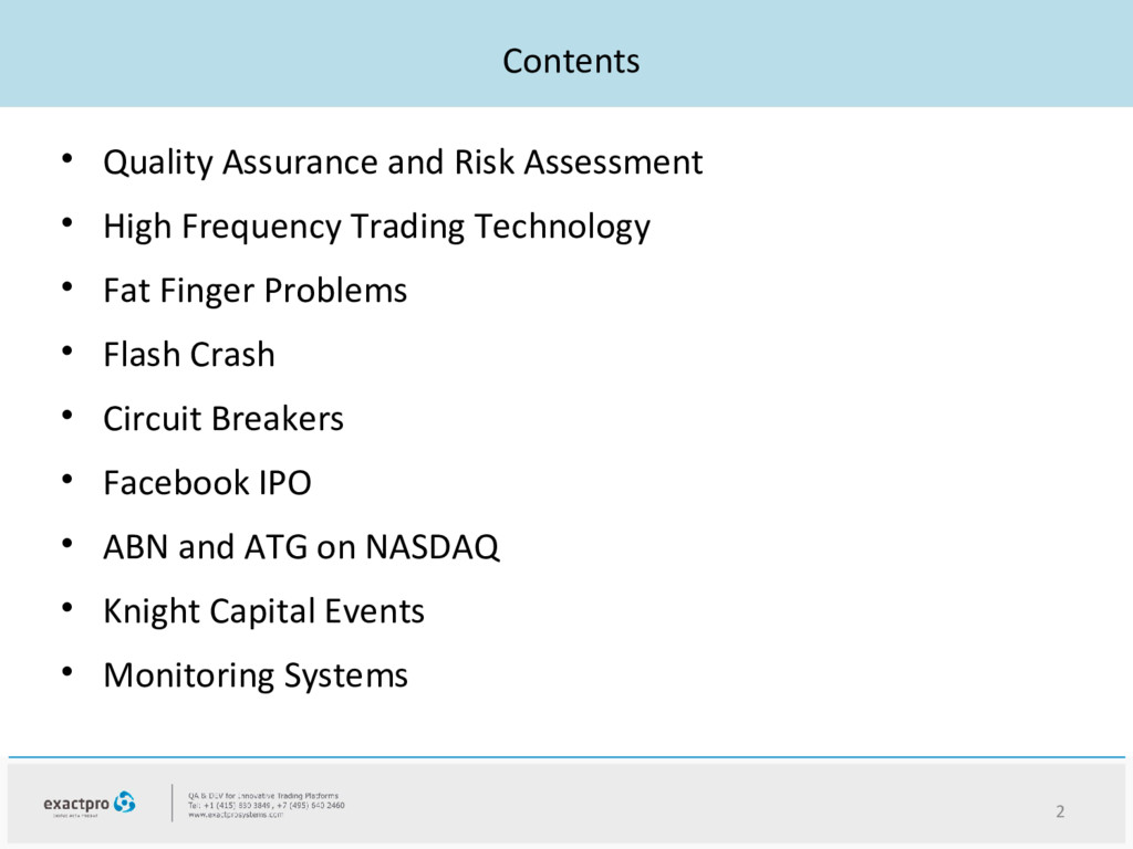 Contents • Quality Assurance and Risk Assessmen...