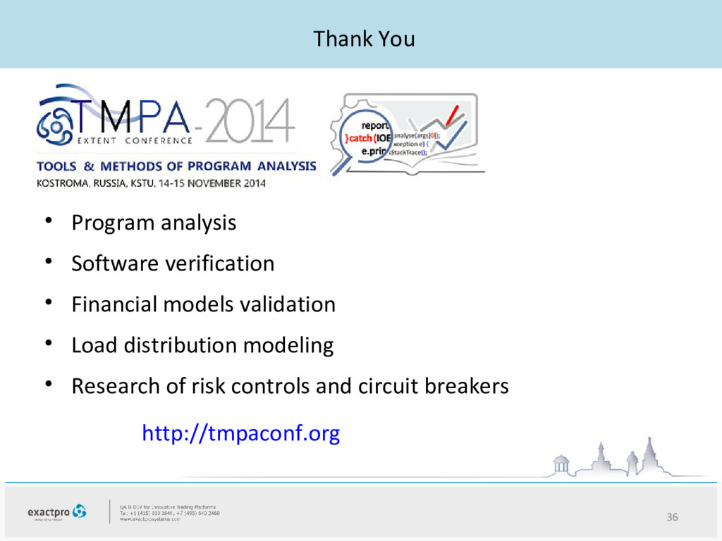 Thank You • Program analysis • Software verific...
