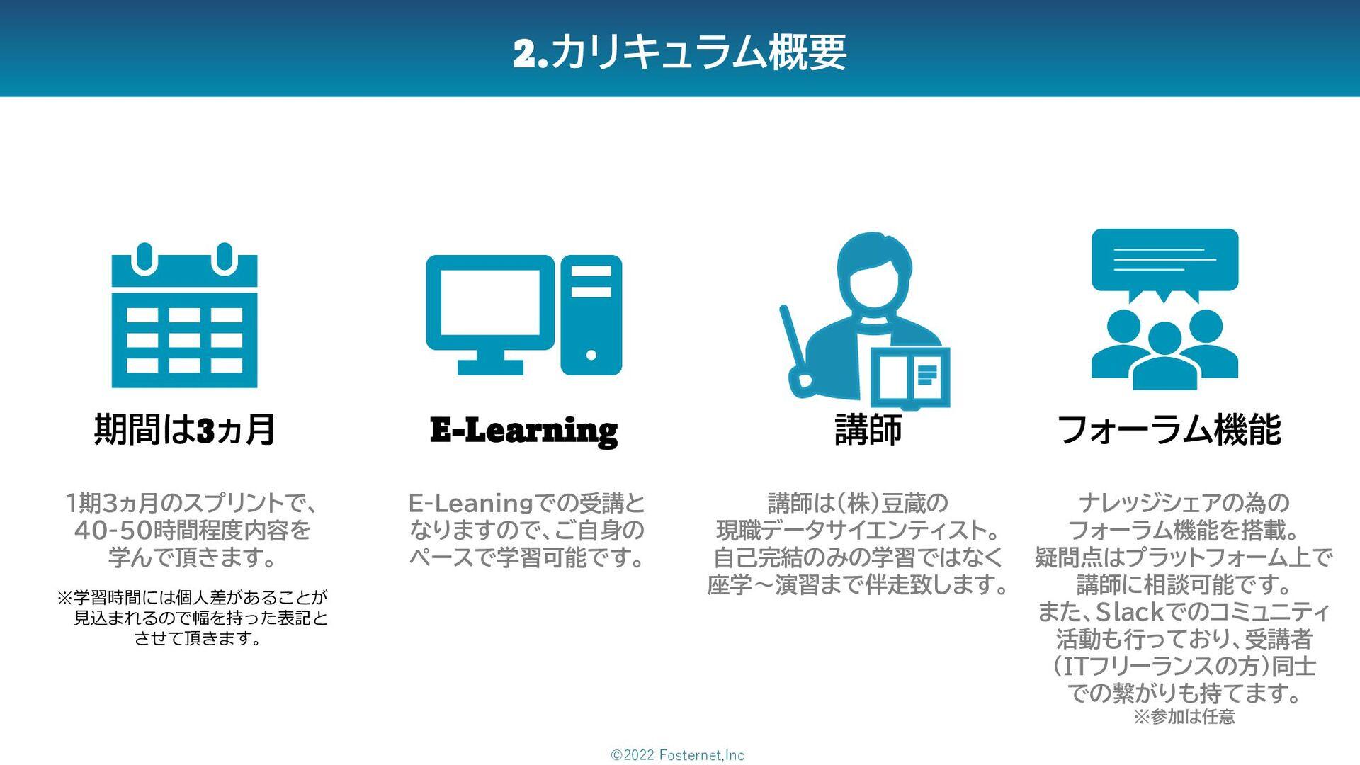 2.カリキュラム概要 期間は3ヵ月 E-Learning フォーラム機能 1期3ヵ月のスプリン...