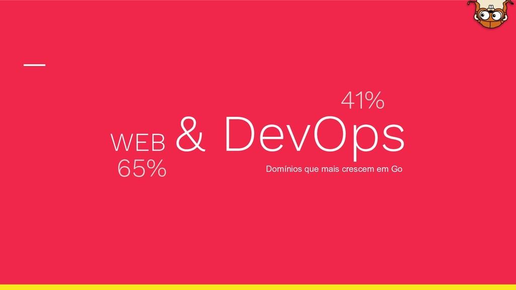 WEB & DevOps Domínios que mais crescem em Go 65...