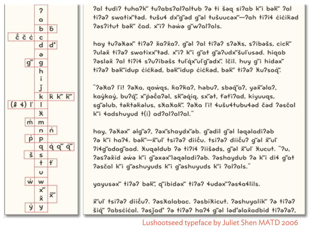 Lushootseed typeface by Juliet Shen MATD 2006