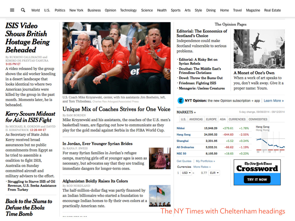 The NY Times with Cheltenham headings