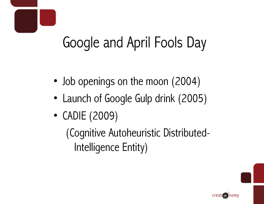 Google and April Fools Day • Job openings on t...