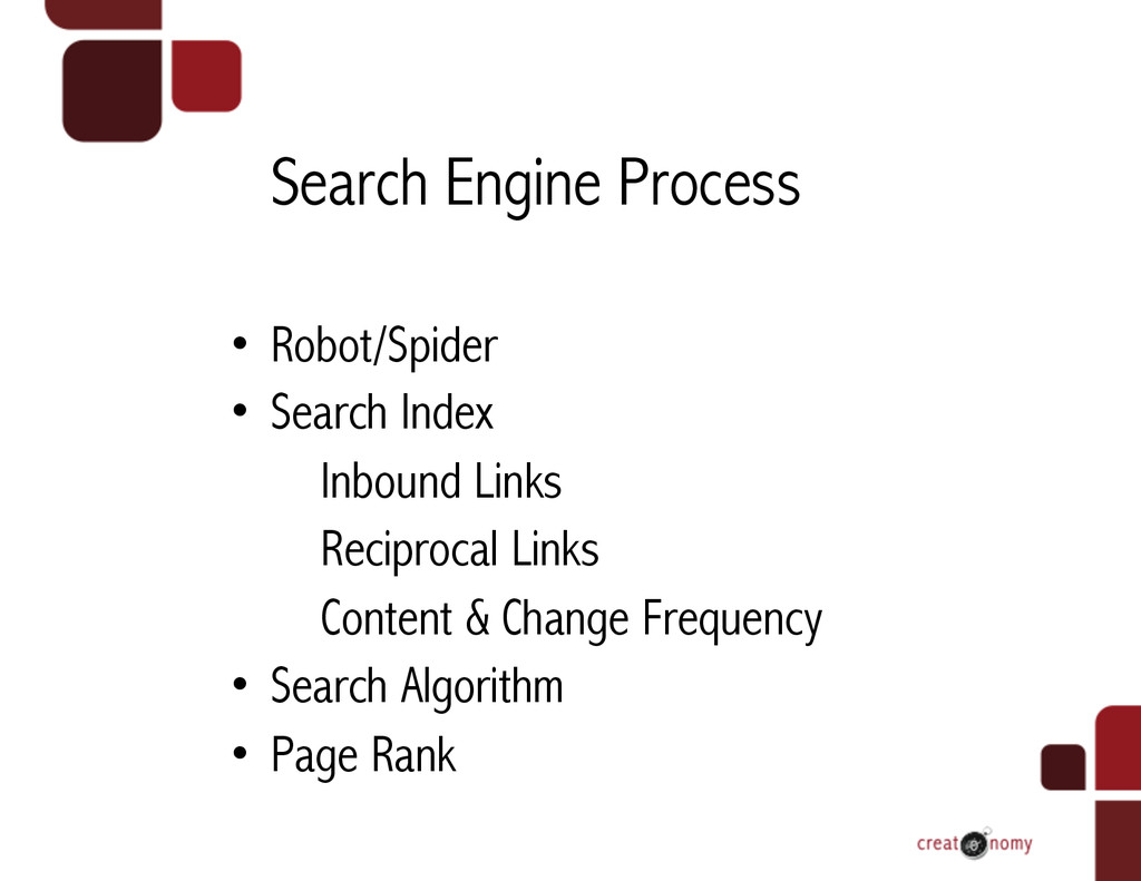 Search Engine Process • Robot/Spider • Search...