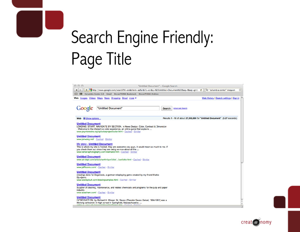 Search Engine Friendly: Page Title