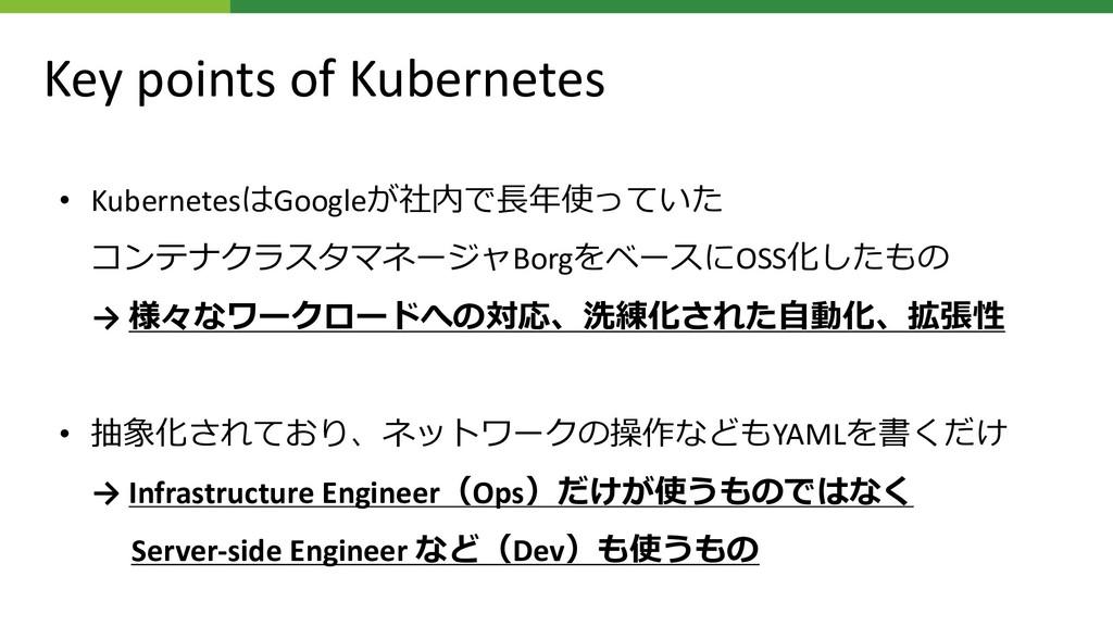 Key points of Kubernetes • KubernetesGoogle*+...