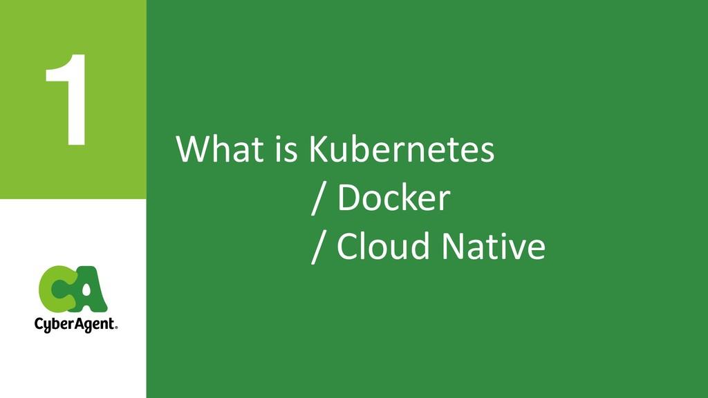 What is Kubernetes / Docker / Cloud Native