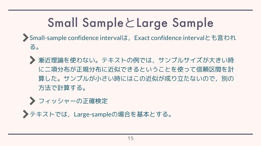 Small-sample confidence intervalは,Exact confide...