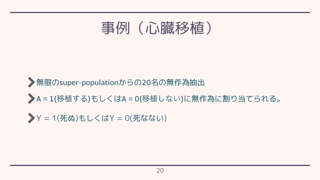 無限のsuper-populationからの20名の無作為抽出 A = 1(Ҡ২͢Δ)もしくは...