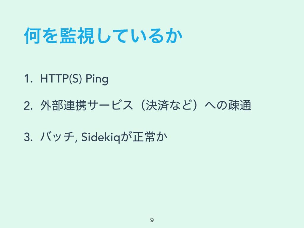 ԿΛࢹ͍ͯ͠Δ͔ 1. HTTP(S) Ping 2. ֎෦࿈ܞαʔϏεʢܾࡁͳͲʣͷૄ௨...