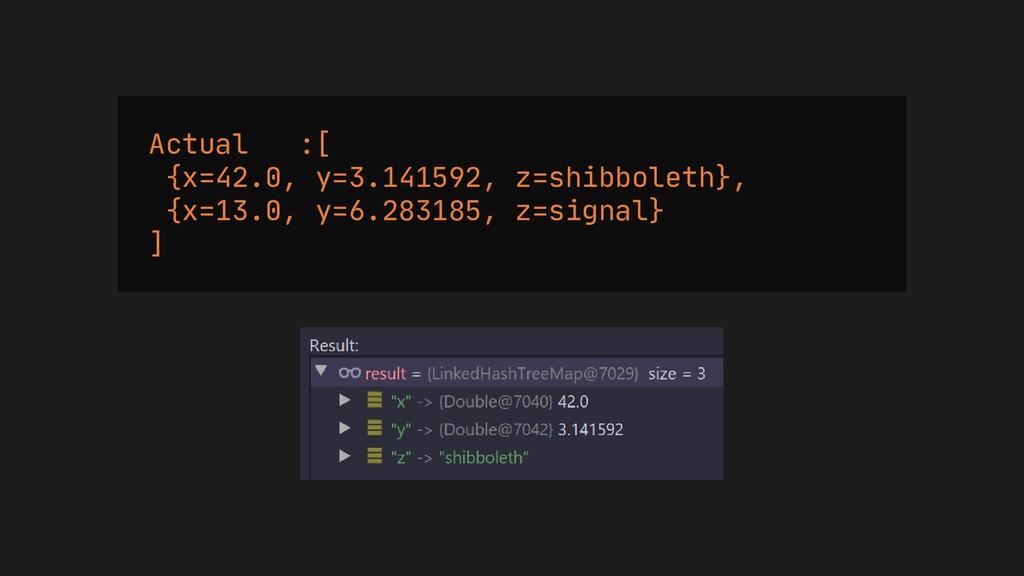 Actual :[ {x=42.0, y=3.141592, z=shibboleth}, {...