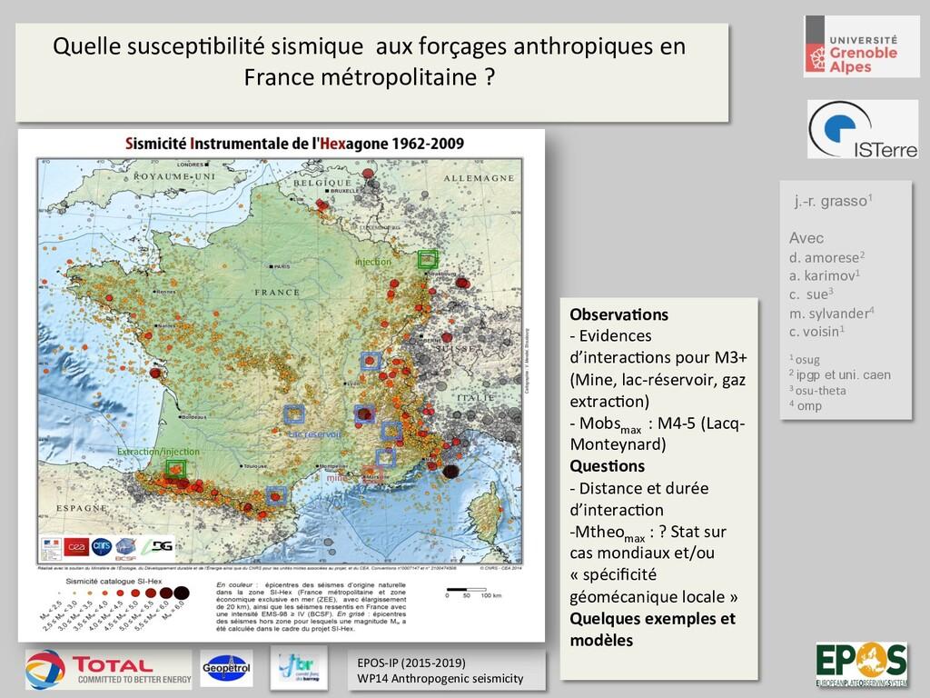 Quelle suscep)bilité sismique aux forçages anth...