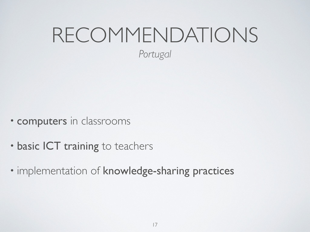 RECOMMENDATIONS • computers in classrooms • bas...