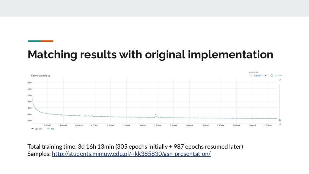 Matching results with original implementation T...