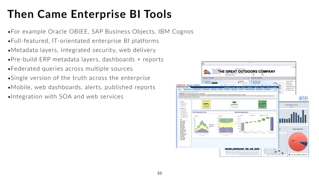 •For example Oracle OBIEE, SAP Business Objects...