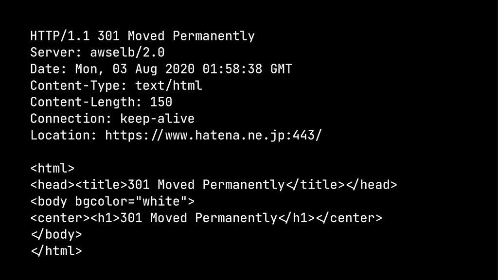 HTTP/1.1 301 Moved Permanently Server: awselb/2...