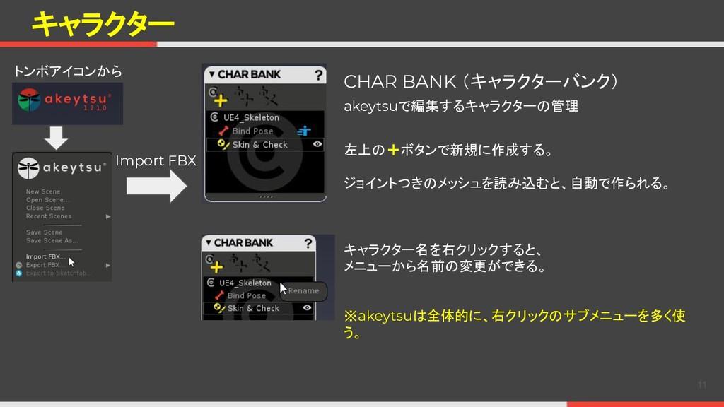 キャラクター CHAR BANK (キャラクターバンク) 左上の+ボタンで新規に作成する。 ジ...