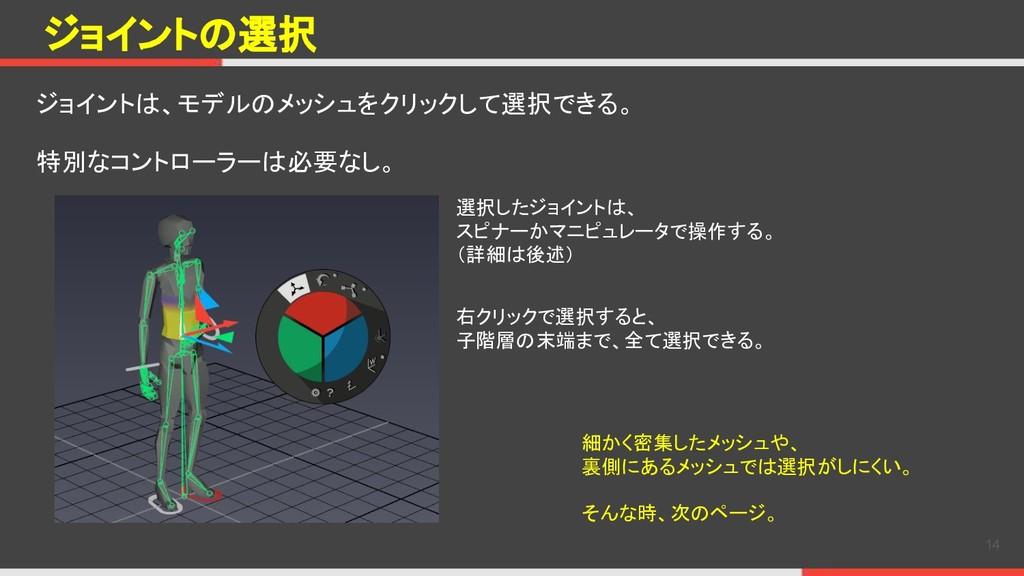 ジョイントの選択 ジョイントは、モデルのメッシュをクリックして選択できる。 特別なコントローラ...