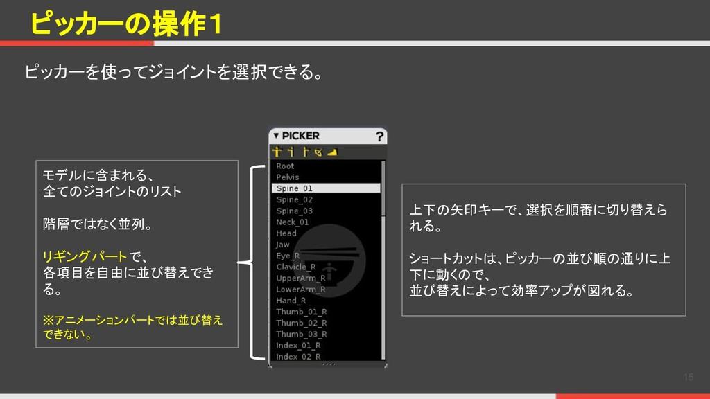 ピッカーの操作1 ピッカーを使ってジョイントを選択できる。 15 モデルに含まれる、 全てのジ...