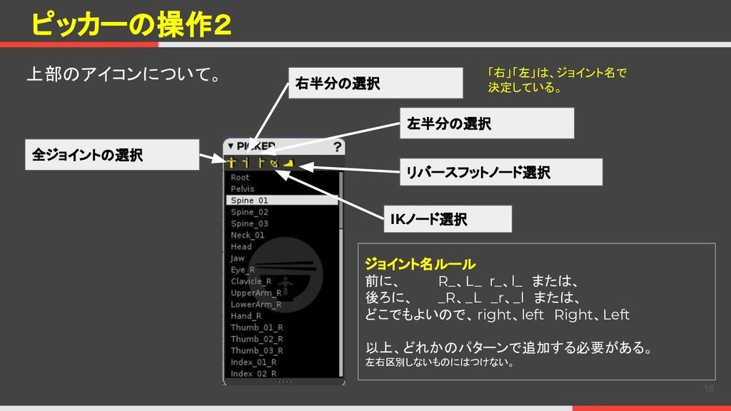 ピッカーの操作2 上部のアイコンについて。 16 全ジョイントの選択 右半分の選択 左半分の選...